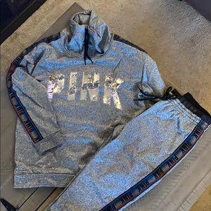 VS Pink silver metallic sweatsuit brand new